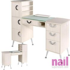EuroStyle Deluxe Manicure Table MKG-767 - Ivory