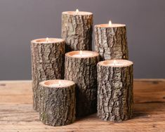 Tree Branch Candle Holders Set of 6- Rustic Wedding Centerpiece, Wood Candle…