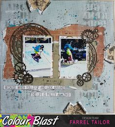 Designs by Farrel Tailor Travel Scrapbook, Scrapbook Pages, Simple Stories, Art Journal Pages, Scrapbooking Layouts, Pretty, Cogs, Colour, Chipboard