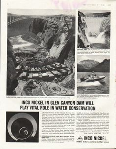 "1961 INCO NICKEL vintage magazine advertisement ""Glen Canyon Dam"" ~ Inco Nickel in Glen Canyon Dam will play vital role in water conservation ... Inco Nickel makes metals perform better, longer ~"