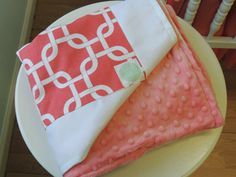 Coral and White Minky Lined Baby Blanket by TushiesTantrumsInc, $100.00
