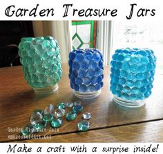 Make A Garden Treasure Jar - canning jars coverd in beads, spray paint lid silver/bronze and seal, place on a stick/rod and put in the round - want to line garden beds or pathway with these!