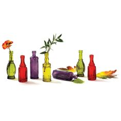 Colorful Pressed Glass Bud Vases.