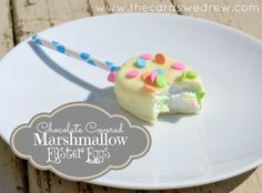 DIY chocolate covered marshmallow easter eggs with ingredient list and directions from thecardswedrew