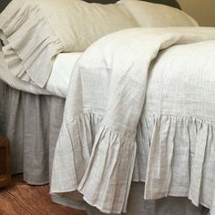 Natural Linen Duvet Cover with Mermaid Long Ruffle, linen ruffle bedding, shabby chic bedding Ruffle Duvet, Linen Duvet, Duvet Bedding, Linen Fabric, Comforter Sets, King Comforter, Luxury Duvet Covers, Bed Duvet Covers, Luxury Bedding Sets