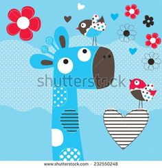 cute giraffe head with bird and flowers vector illustration