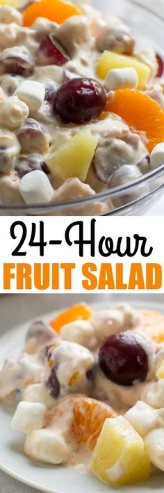 This classic 24 Hour Fruit Salad has lots of fruit and marshmallows in a creamy lemon custard sauce. Make it the night before or up to 24 hours in advance!