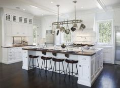 White Kitchen Islands with Seating- make seating on both sides and won't need a table!