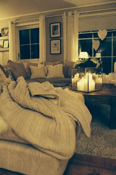 Comfy couch & candles for the home