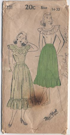 Misc New York 231 Vintage 1940s Gypsy Blouse And Skirt pattern B32