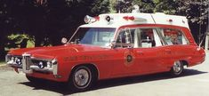 older classic one of a type custom vintage ambiulances from collection of K. Byrdyny Riverview Ambulance Winnipeg Manitoba - red Pontiac white roof