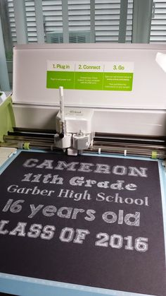 Amy Chomas: Back to school sign with adjustable holder for the Cricut Explore.