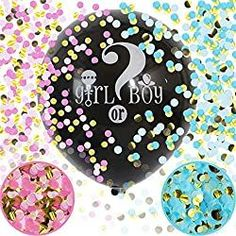 Baby Shower Balloons -The Best DIY Ideas - CutestBayShowers.com Black Balloons, Big Balloons, Baby Shower Balloons, Confetti Balloon Gender Reveal, Confetti Balloons, Gender Reveal Party Supplies, Reveal Parties, Baby Shower Gender Reveal, Baby Gender