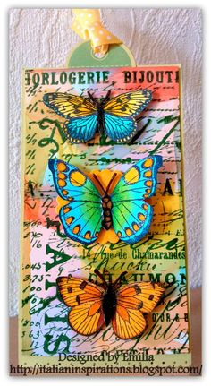 In this tag I used my favourite butterfly stamps and my favourite background.  First, I coloured a piece of glossy cardstock with alcohol in...