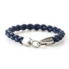 Tateossian Men's Italian Leather Bracelet with Sterling Silver Closure - Navy