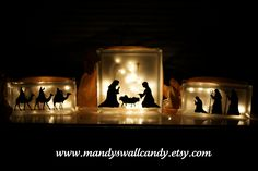Nativity Trio Vinyl on Glass Blocks - Beautiful! Nativity Crafts, Christmas Nativity, Christmas Time, Christmas Crafts, Christmas Ornaments, Christmas Ideas, Hobby Lobby Crafts, Nativity Silhouette, Silver Christmas Decorations