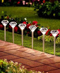 Set of 6 Diamond Solar Stakes, Garden & Outdoor Living > Outdoor Lighting > Path