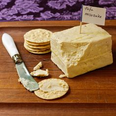 Original pinner: It's at-home tofu misozuke from Recipe Renovator! If you're a vegan (or anyone!) who likes delicious stinky cheese, GET UP ON THIS!pin now read later Vegan Cheese Recipes, Vegan Cream Cheese, Spreadable Cheese, Aged Cheese, Blue Cheese, Fancy Cheese, Vegan Gluten Free, Vegan Vegetarian, Vegan Milk