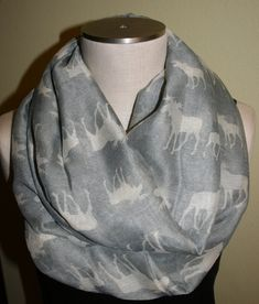Moose Infinity Scarf Light Gray Elk Print Scarf Chunky Infinity Scarf Loop Scarf--Wildlife-Elk Hunting-Boho Scarf-Accessories