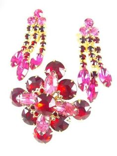 Vintage Brooch and Earrings Hot Pink and Red by hipcricket on Etsy, $35.00