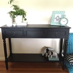 Black Hall Table quality off white timber console with scrolling metal legs/desk