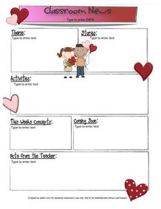 84ea451a1763fb1760c28c7c69765625 Valentine S Day Clroom Newsletter Template on