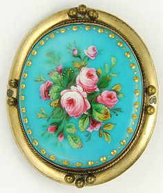 Victorian posy of roses hand-painted enamel pinchbeck pin • Suzy Lemay, rubylane.com