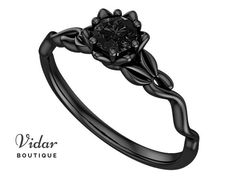 Black Diamond Ring Flower Engagement Ring Unique Ring Black Diamond Engagement Ring Leaves Black gold floral swirl Vintage Ring with Leaf Black Diamond Engagement, Floral Engagement Ring, Diamond Wedding Rings, Bridal Rings, Vintage Engagement Rings, Engagement Ring Settings, Black Wedding Rings, Gothic Engagement Ring, Gothic Wedding Rings