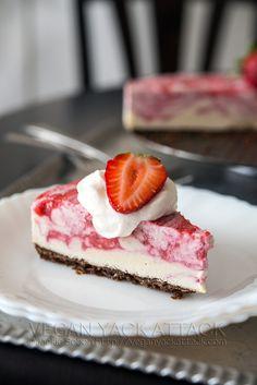 Strawberry Swirl Cheesecake   Vegan Yack Attack