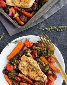 One pan balsamic chicken veggie bake. Get the recipe