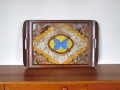 Brazilian Butterfly Wing Carlos Zipperer Serving Tray USD) by ArtExtraction Wood Butterfly, Butterfly Wings, Floral Area Rugs, Floral Rug, Hand Carved, Hand Painted, Vintage Candles, Art Deco Fashion, Decorative Accessories