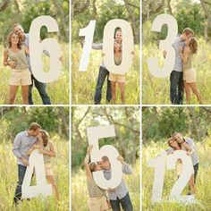 Let your personality shine. This clever couple incorporated super-sized number props in their engagement photos.
