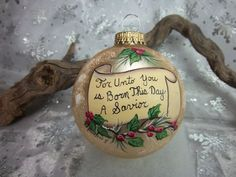 Bible Verse Ornament, Christmas Message, Scroll With Bible Verse, Hand-Painted Ornament, Religious O First Christmas Together Ornament, Painted Christmas Ornaments, What Is Christmas, Hand Painted Ornaments, Holiday Ornaments, Christmas Art, Christmas Tree Decorations, Christmas Tree Ornaments, Holiday Crafts