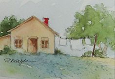 This is an original small watercolor painting of laundry day in the country. White sheets hanging on the clothesline. My favorite theme. The size is