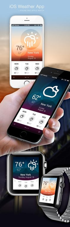 Design concept for an iOS Weather App (iPhone and Apple Watch) by Jan Erik Waider: Screendesign / Webdesign / Responsive Design / Interface Design / Mobile Apps