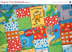 SALE Lorax Baby Quilt Bright Organic All by SunnysideDesigns2, $149.00
