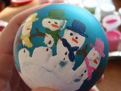 snowmen handprint bulb