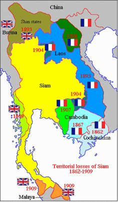 Thailand controlled large parts of what is now Laos, Vietnam, Burma, Malaysia, and Cambodia in the 1860s