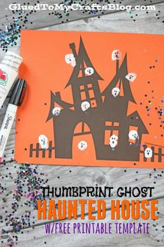 Thumbprint Ghost Haunted House Kid Craft w/free printable template Halloween Crafts For Kids, Halloween Activities, Holidays Halloween, Halloween Kids, Halloween Themes, Diy Crafts For Kids, Fall Crafts, Holiday Crafts, Toddler Activities
