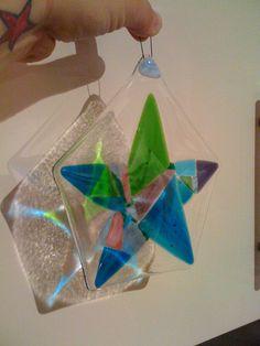 Fused glass star sun catcher by NeekyRabbit, via Flickr #star #glass #fused…