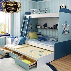 Mẫu giường ngủ tầng tiện ích đa năng dành cho bé kiểu chiếc thuyền ngoài khơi