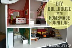 Modern DIY dollhouse with homemade furniture (Part 1 of 6) at LansdowneLife.com