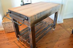 Butchers Block Style Island Bench / Rustic / on Castor Wheels / inbuilt knife block and towel rail / Made to order in Australia / Kitchen Butchers Block Style Island Bench / Rustic / on by UpcycledWoodOZ Butcher Block Kitchen, Butcher Block Island, Butcher Block Tables, Butcher Blocks, Butcher Table, Kitchen Island On Wheels, Rustic Kitchen Island, Moveable Kitchen Island, Kitchen Island Cart