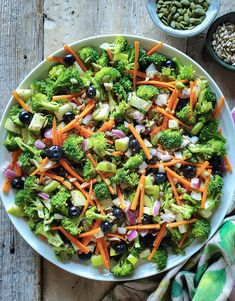 All the fresh crunch from summer vegetables and fruit, with the added bonus of seeds and blueberries, brought together with a bright lemon poppyseed vinaigrette! Salad Recipes Gluten Free, Healthy Salad Recipes, Lunch Recipes, Delicious Recipes, Broccoli Salad, Vegetable Salad, Clean Eating Salads, Eating Healthy, Rainbow Salad