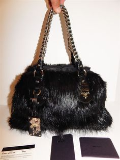 0fe36cb3ae86 Prada Genuine Black Beaver Fur Chain Satchel Bag ebay  pinterest   louisvatton  handbag