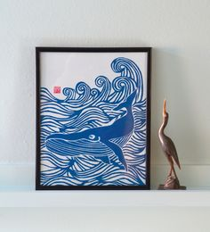 Makin' Waves-Whale Lino print, by Meadowlark Prints on Folksy, £15.00