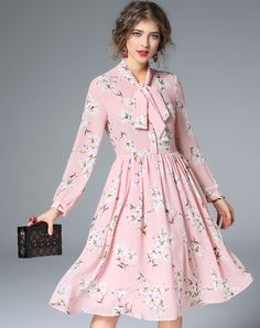 #VIPme Pink Bow Collar Floral A-line Midi Dress ❤ Get more outfit ideas and style inspiration from fashion designers at VIPme.com.