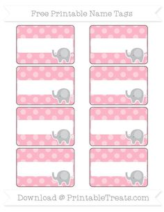 Free Pastel Light Pink Dotted Pattern  Elephant Name Tags