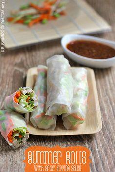 Summer Rolls w/ Spicy Dipping Sauce | #rolls #recipe #food #spicy #healthy #summer
