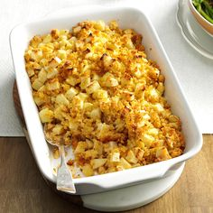 Mom's Apple Corn Bread Stuffing Recipe -My speedy recipe is end-all be-all stuffing in our family. We never have leftovers. —Marie Forte, Raritan, New Jersey